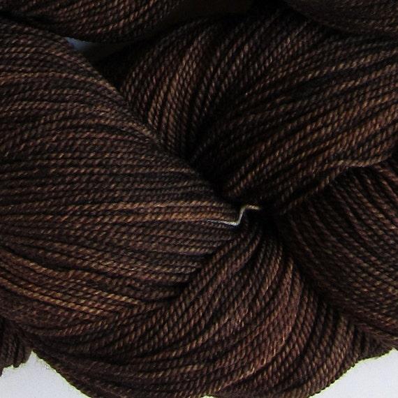 Jackrabbit 6oz hand dyed sock yarn fingering weight, 2ply superwash merino, 170g - Brazil Nut 3
