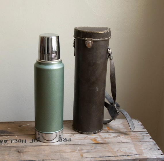 caulfield collection. vintage thermos and leather case