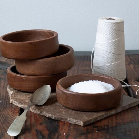 set of vintage teak bowls