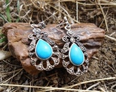 Turquoise enamel and Marcasite Earrings / 262