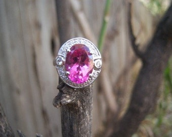 Pink Faceted Stone Ring/199