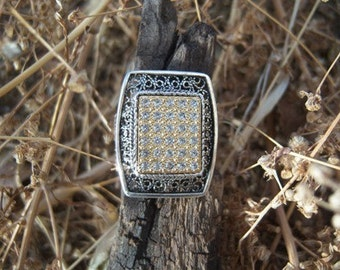 Silver Filigree and Crystal Ring132