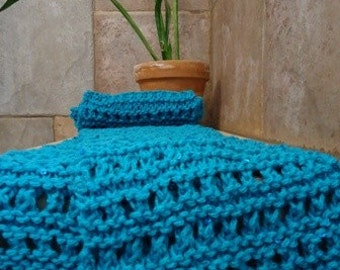 Turquoise Scarf Hand knit