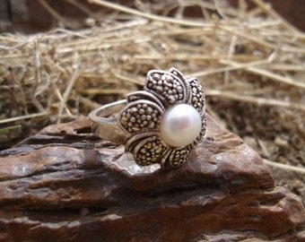 Pearl and Marcasite Ring / 225