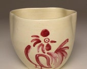 Asymmetrical Cup with Japanese Style Drawing (Rooster in Pink)