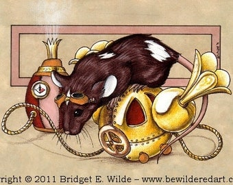 "Cheesepunk ""Benedict"" Limited Edition Print - MATTED cream - Steampunk Mouse"