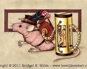 "Cheesepunk ""Colin"" Limited Edition Print - MATTED cream - Steampunk Mouse"
