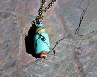 Turquoise Barrel Necklace