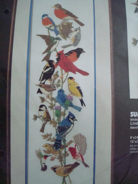 New Dimensions Summer Gathering  Birds Crewel Kit