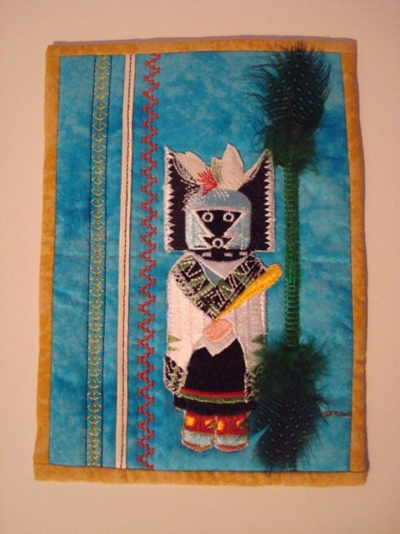 Unique Crow Mother Kachina Handmade Quilted Card w Envelope.