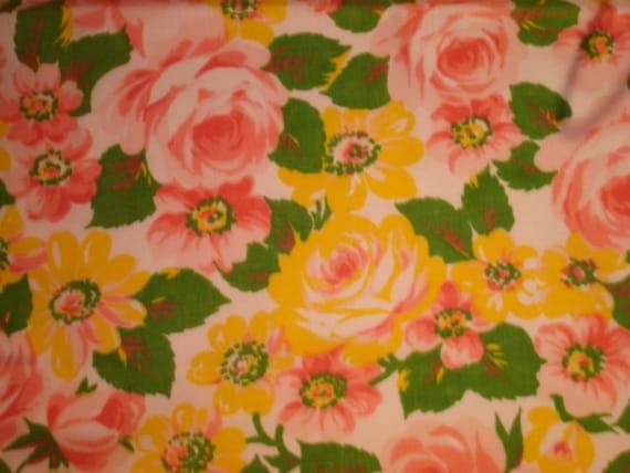 Vintage Floral Pink & Yellow Vintage Linen Fat Quarter