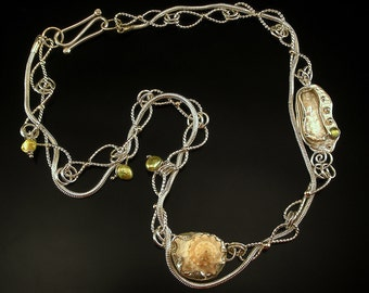 Seashell Necklace Silver, peridot, pearl, shell ,14k gold FREE STANDARD SHIPPING