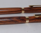 Slimline pen and pencil set in cocobolo and gold with gift box