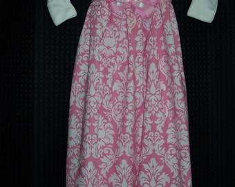 Boutique Infant Pink Damask Gown Layette set with matching bow and headband, perfect for that little Princess
