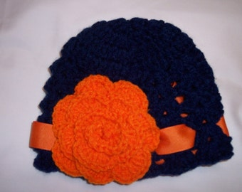 Boutique Auburn Tigers Crochet Beanie Hat made in sizes newborn- adult size