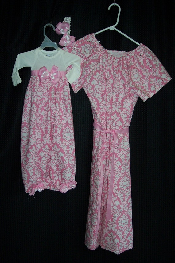 Boutique Maternity and Delivery Gown Set sizes s-xl comes with matching Infant Gown Set great for coming home outfit