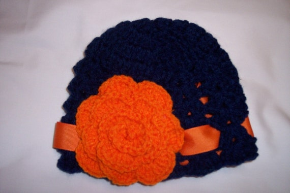 Boutique Auburn Tigers Crochet Beanie Hat made in sizes newborn- adult size