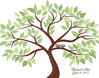 Personalized Wedding Tree Guest Book Print for up to 100 guests