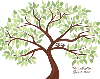Personalized Wedding Tree Guest Book Print for up to 200 guests