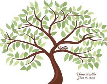 Personalized Wedding Tree Guest Book Print for up to 125 guests