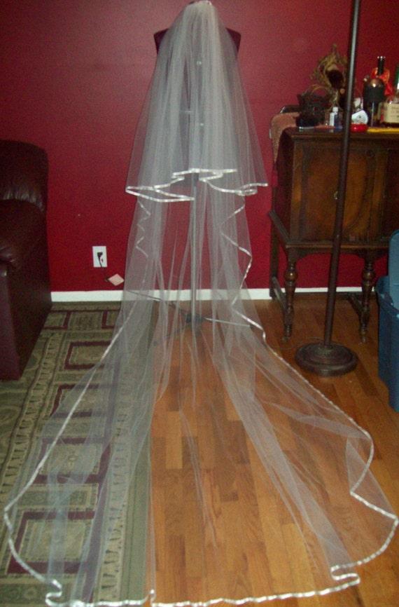 Ribbon Edged Cathedral Wedding Veil