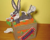 Bugs Bunny Rabbit Plastic Canvas Boutique Tissue Paper Box Cover Handmade - disliltreasures