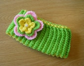 Knit Baby Headband Ear Warmer with Removable Crochet Flower Blossom Hair Clip with Pearl Bead Accent Lime Green Yellow Pink