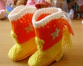Western Cowboy Baby Booties Boots Crochet Candy Corn Yellow Orange and White with White Stars