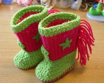Western Cowboy Baby Booties Boots Crochet Lime Green and Hot Pink with Green Stars Baby Shower Gift