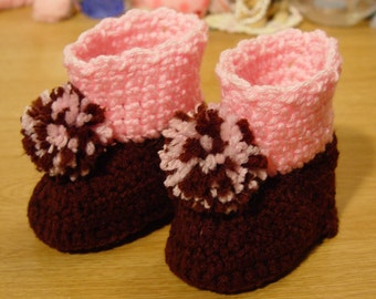 High Top Crochet Girl Baby Booties Boots Dark Brown & Pink with Pom Poms Baby Shower Gift