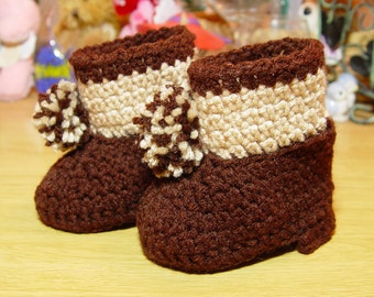 High Top Crochet Boy Baby Booties Boots Dark Brown and Tan with Pom Poms Baby Shower Gift