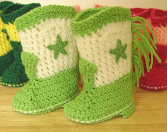 Western Cowboy Baby Booties Boots Crochet Lime Green & White with Lime Green Stars Baby Shower Gift