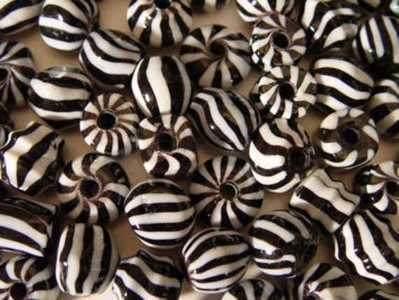 Zebra Stripes Black and White India Glass Beads 12 Count Mixed Shapes 15mm to 20mm