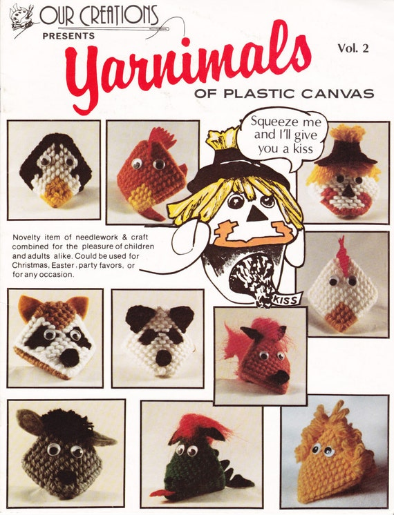 Yarn Animals Squeeze My Cheeks Gimme a Chocolate Kiss in Plastic Canvas Pattern Leaflet