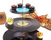 Retro Vintage Record Dessert 3 Tier Pedestal Cake Cupcake Stand Upcycle Recycle Wedding  Birthday Graduation Party Rock Around The Clock