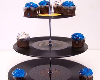 Retro Vintage Record Dessert 3 Tier Pedestal Cake cupcake Stand Upcycle Recycle Wedding  Birthday Graduation Party Rock Around The Clock