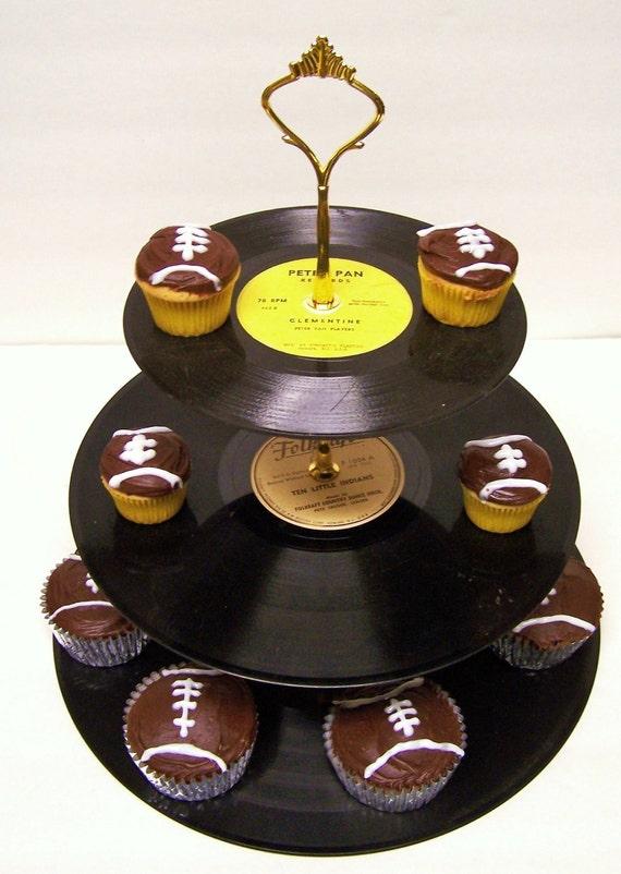 Retro Vintage Record Cupcake Stand 3 Tier Pedestal Dessert Stand Upcycle Recycle Wedding Birthday Rock Around The Clock