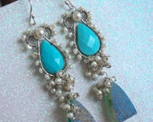 On Cloud Nine - featuring Sleeping Beauty Turquoise, Freshwater Pearl, Druzy, Sterling Silver ear hooks.