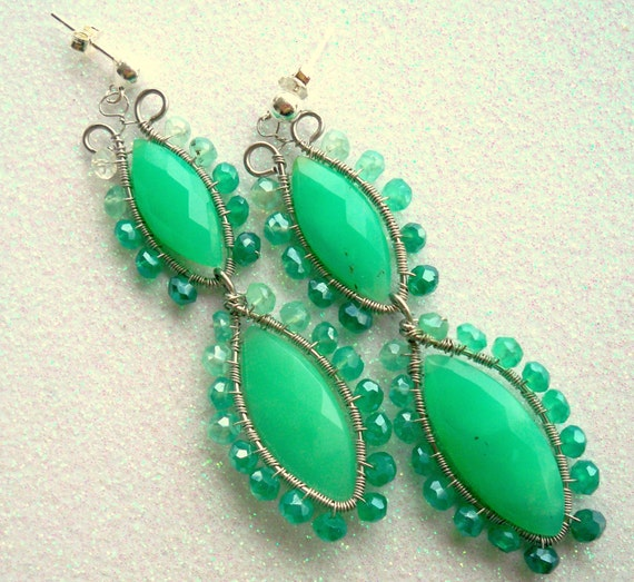 Leapin Lilypads - featuring - Chrysoprase, Mystic Green Quartz, Sterling Silver Posts