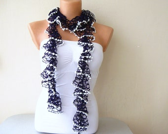 Purple  Lace Shades Funky Scarf with White Pom Poms