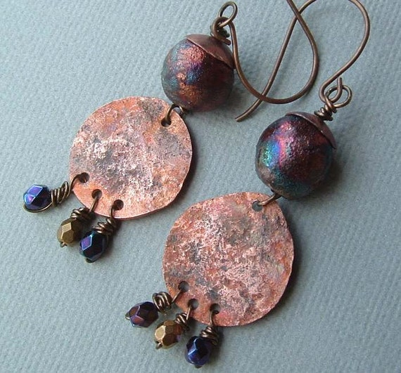 Rustic - recycled bronze - raku glazed purple blue copper - earrings