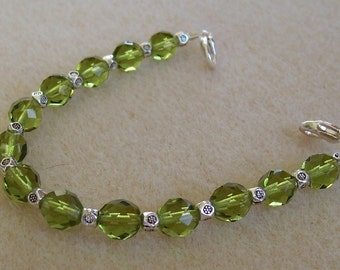 Czech Olivine Green Bracelet Medical Alert ID Replacement Bracelet or Watchband by MadeforUjewelry on Etsy