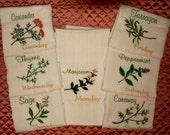 DAYS OF THE WEEK - Waffle Weave KITCHEN Towels - Seven Different Herbs - 21 inches wide x 29 inches long