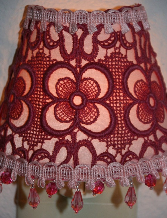 NIGHT LIGHT - Light Pink Underlay with a Darker Pink Overlay - Pink Colored Beaded Fringe
