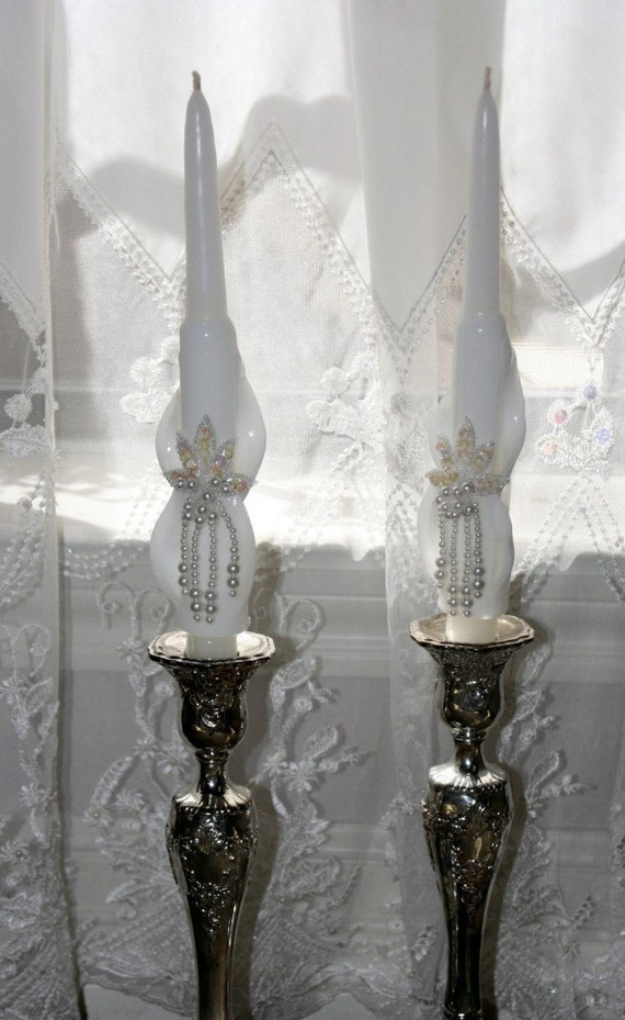 WEDDING UNITY CANDLES - White Candle with Sequin-Beaded Embellishment - 10 inches tall