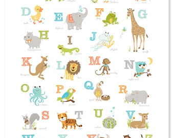 Animal Alphabet Poster, Baby Shower Gift, Animal Poster, ABCs, Kids Room Print, Nursery Print, Playroom Art