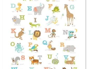 Alligator to Zebra ABC Poster (16x20 )  -  Wall nursery art for children