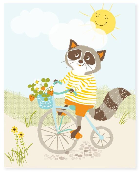 Raccoon wall art,  bicycle art for kids, nursery wall decor for children