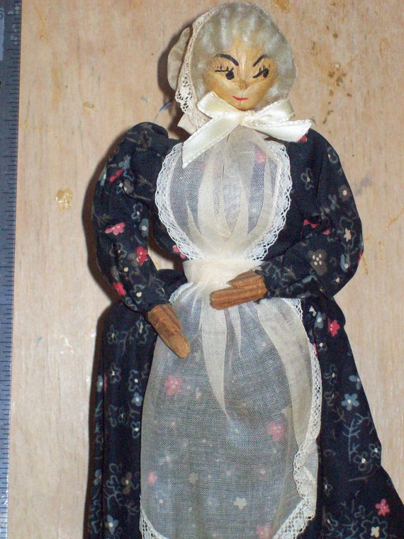 Grandma Snazzy,Ozark Hickory Nut Doll, The Doll is Wood the head is a Hickory nut.
