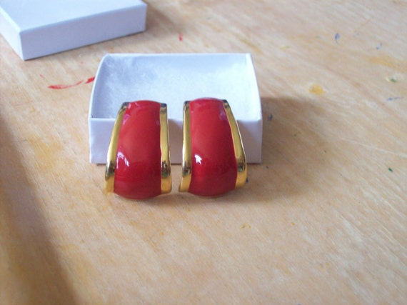 Avon 1980s Red and Gold tone Enameled Post Earrings was 5.99